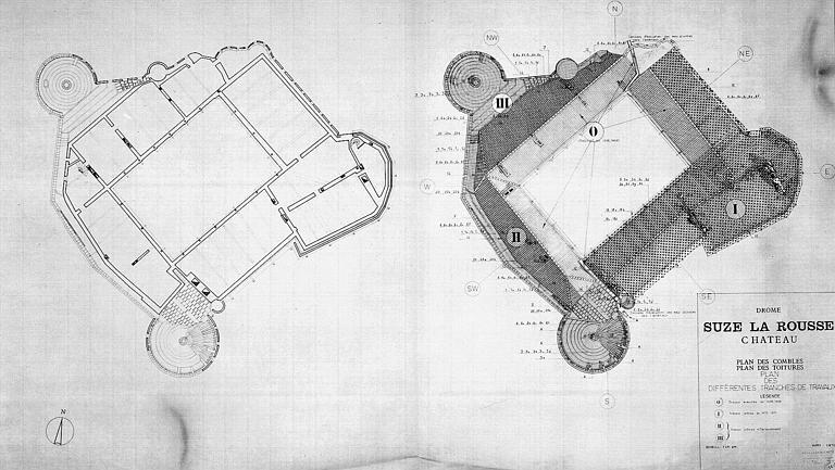 Plans des combles et des toitures (plan des différentes tranches de travaux)