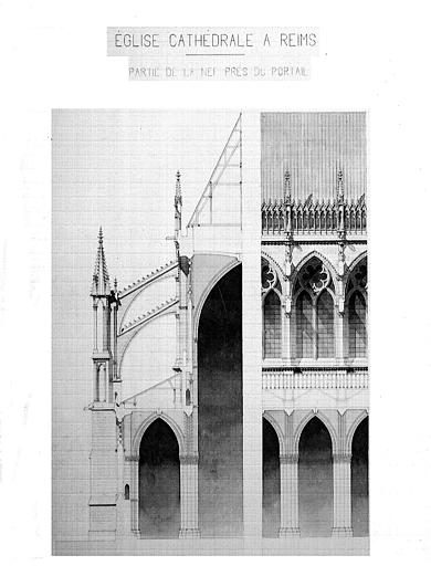 Bas-côté de la nef près du portail : Coupe transversale et coupe sur l'axe