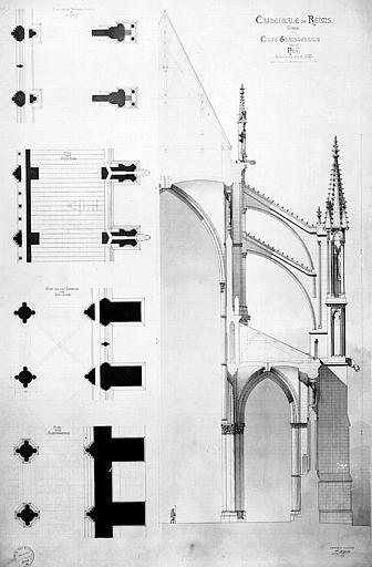 Bas-côté de la nef : plan et coupe transversale