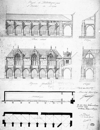 Projet de bibliothèque : plans, coupes, élévations