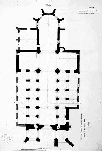 Plan général indiquant les constructions primitives et les travaux d'agrandissement exécutés au 16e siècle