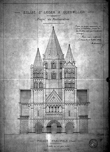Façade ouest : Elévation (projet de restauration)