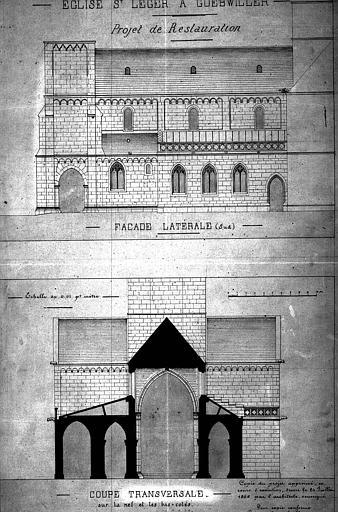 Façade sud : Elévation (projet de restauration). Nef et bas-côtés : coupe transversale