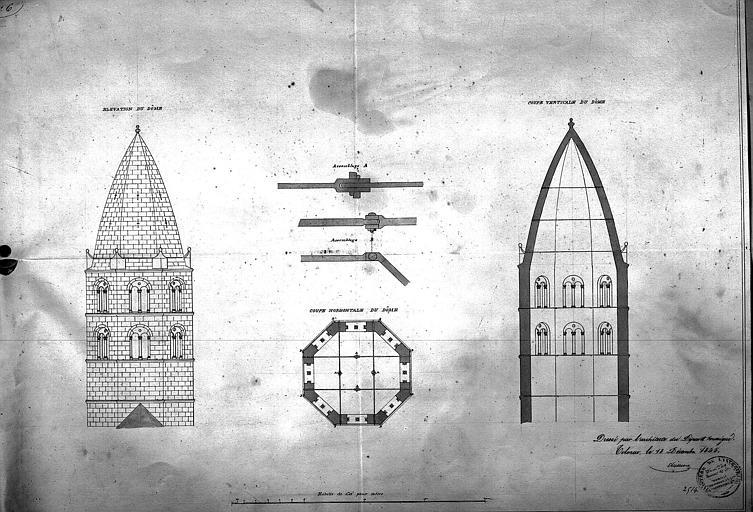 Flèche de la tour centrale : Elévation, plan et coupe