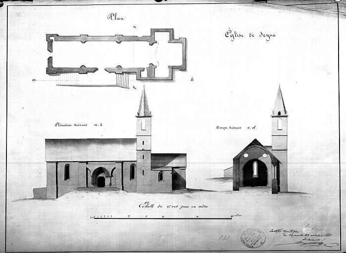 Plan général, élévation de la façade sud et coupe transversale