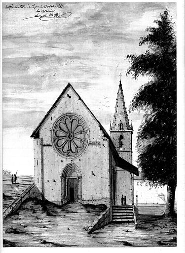 Dessin aquarellé : Façade ouest et clocher