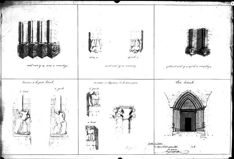 Dessin aquarellé : Détails sculptés de la porte latérale et de la porte centrale