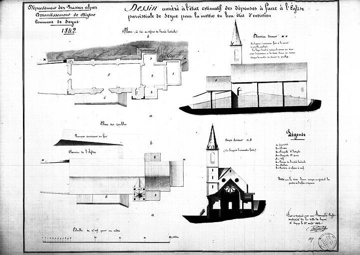 Plan au sol et plan des combles. Elévation de la façade nord. Coupe transversale