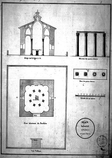 Panthéon : Plans et élévations. Elévation des quatre colonnes