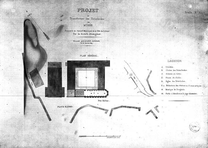 Projet de transformation en musée, feuille n°1 : plan général
