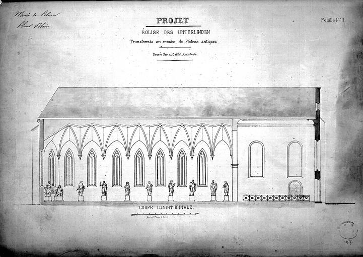 Projet de transformation en musée, feuille n° 2. Eglise transformée en musée de plâtres antiques : Coupe longitudinale