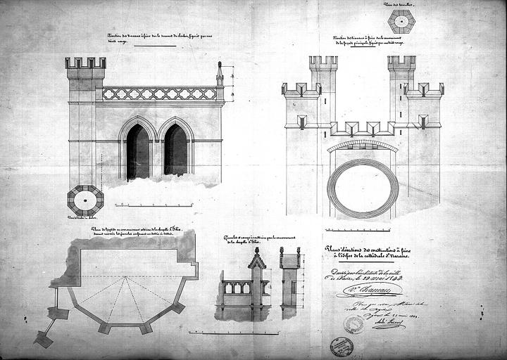 Projets de couronnement : Plan de l'abside. Détail des parties hautes de la façade principale du clocher. Détail des pinacles et de la rampe à construire pour le couronnement de la chapelle Saint-Félix (abside)