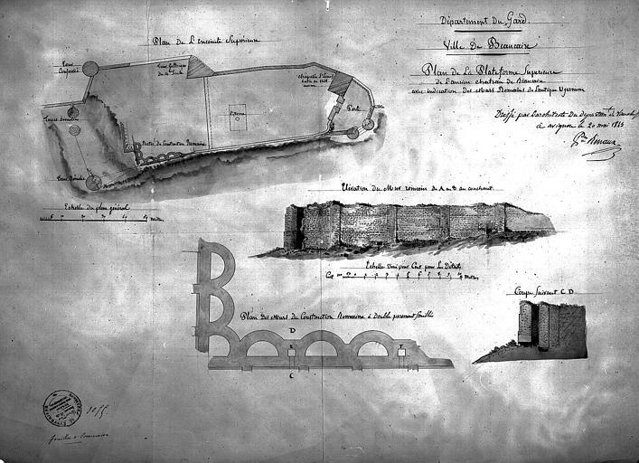 Plan de la plateforme supérieure du château avec l'indication des murs romains. Elévation du mur romain. Coupe