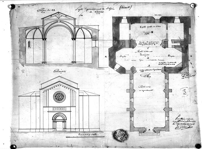 Projet d'agrandissement de l'église : Plan, coupe et élévation