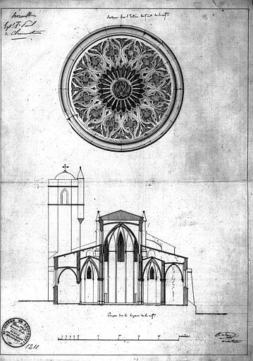 Rose de la façade ouest. Coupe transversale de la nef