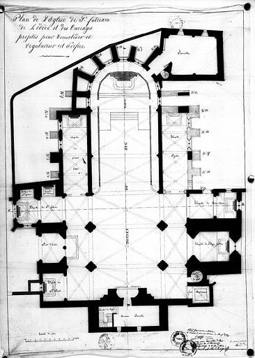 Plan avec l'indication des travaux projetés pour consolider et régulariser l'édifice