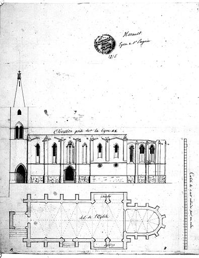 Plan et élévation de la façade sud