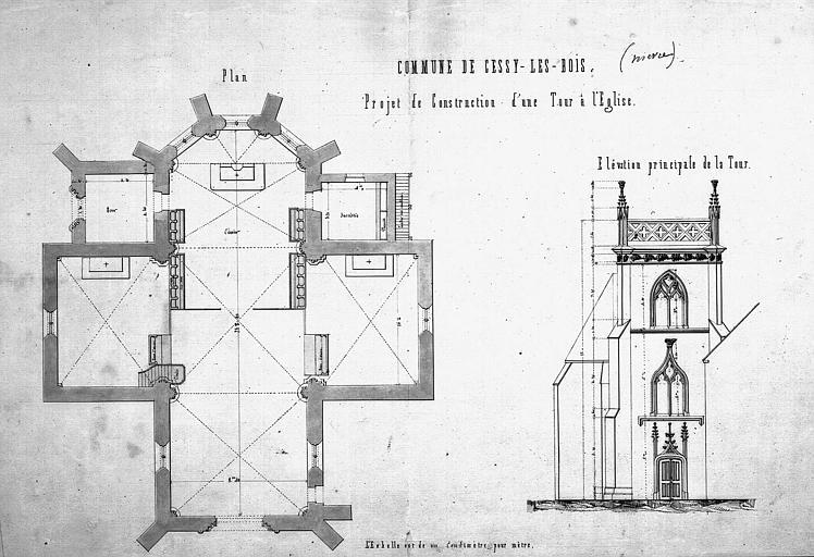 Projet de construction d'une tour : Plan et élévation