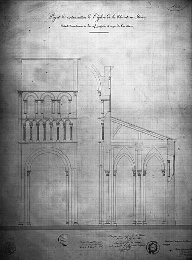 Projet de restauration : détail d'une travée de la nef projetée et coupe des bas-côtés
