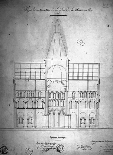 Projet de restauration : Coupe sur le transept