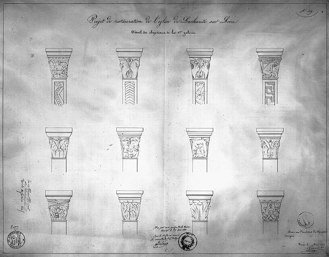 Projet de restauration : détail des chapiteaux de la première galerie
