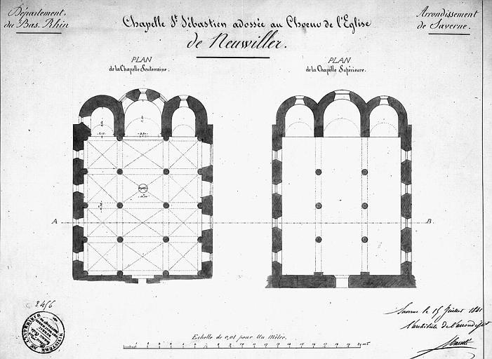 Chapelle de Saint-Sébastien (adossée au choeur de l'église) : Plans de la chapelle souterraine et de la chapelle supérieure