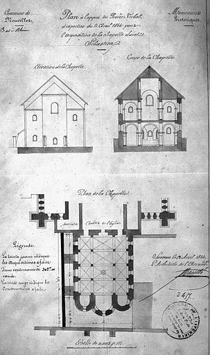 Chapelle de Saint-Sébastien (adossée au choeur de l'église) : Plan, coupe, élévation