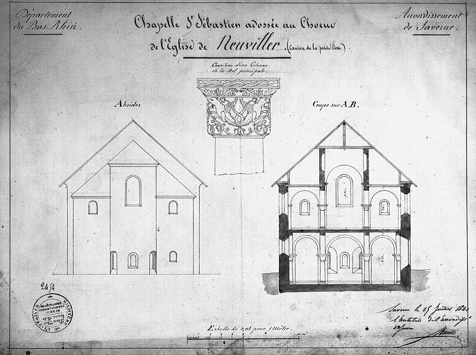 Chapelle de Saint-Sébastien (adossée au choeur de l'église) : Coupes et chapiteau de la nef