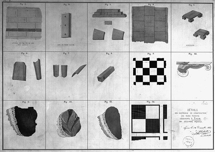 Détails des matériaux de construction des bains romains