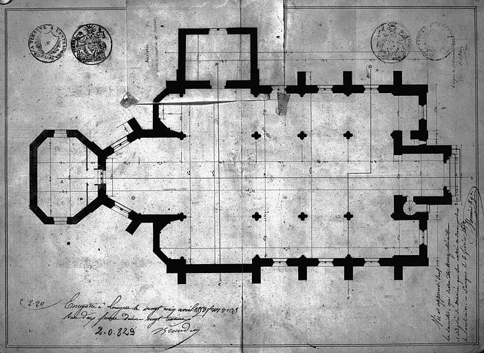 Plan général de l'église avec projet de sacristie
