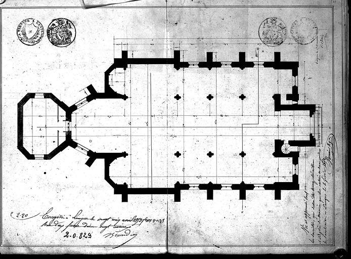 Plan général de l'église sans le projet de sacristie