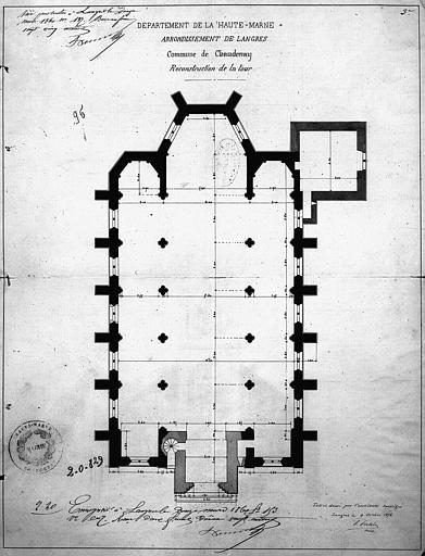 Projet de reconstruction de la tour : plan général de l'église