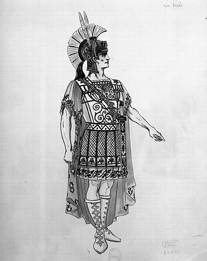 Maquette pour le costume d'Enée dans 'Les Troyens' d'Hector Berlioz, acte 1, la prise de Troie