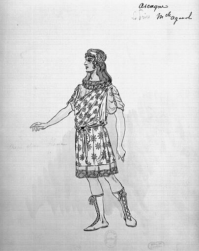 Maquette pour le costume d'Ascagne dans 'Les Troyens' d'Hector Berlioz, acte 1, la prise de Troie