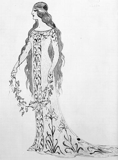 Maquette pour le costume de Mélisande dans 'Pelléas et Mélisande' de Claude Debussy
