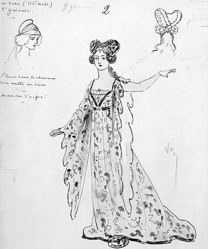 Maquette pour le costume d'Ygraine dans 'Ariane et Barbe-Bleu' de P. Dukas
