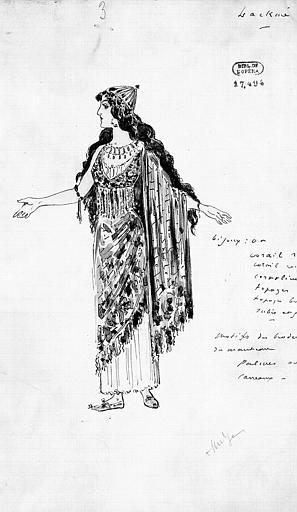Maquette pour le costume de Lakmé dans 'Lakmé' de L. Delibes