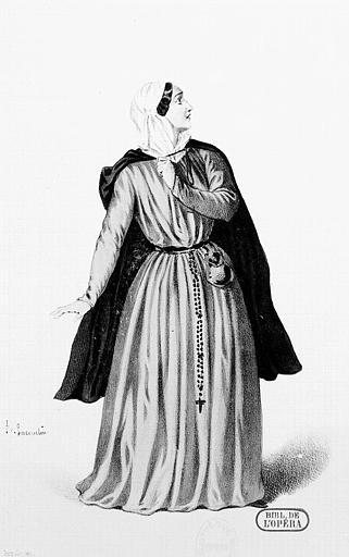Maquette pour le costume de Madame Viardot dans le rôle de Fidès, dans 'Le Prophète' de G. Meyerbeer