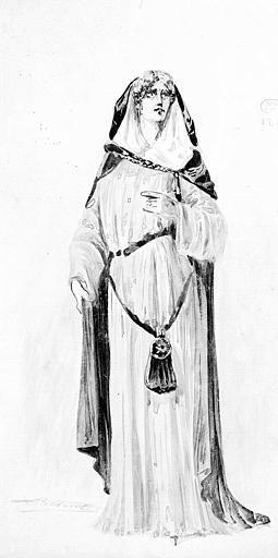 Maquette pour le deuxième costume de Fidès dans 'Le Prophète' de G. Meyerbeer