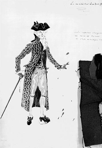 Maquette pour le costume de Lindorff dans le prologue des Contes d'Hoffmann, de Jacques Offenbach