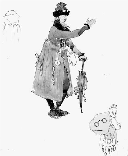 Maquette pour le costume de Coppélius dans le premier acte des 'Contes d'Hoffmann' de Jacques Offenbach