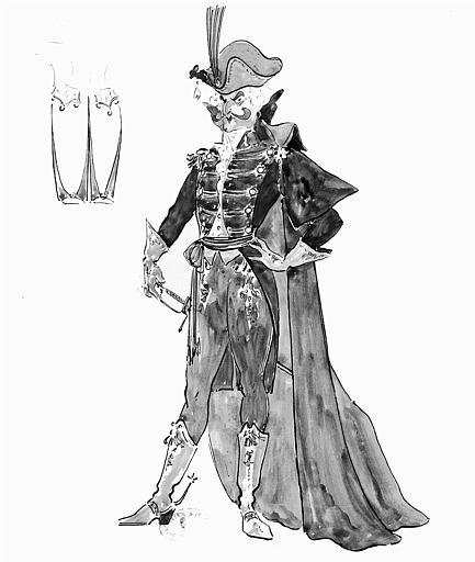 Maquette pour le costume de Dapertutto dans le deuxième acte des 'Contes d'Hoffmann' de Jacques Offenbach
