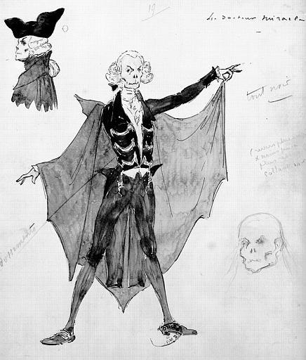 Maquette pour le costume du Docteur Miracle dans le troisième acte des 'Contes d'Hoffmann' de Jacques Offenbach
