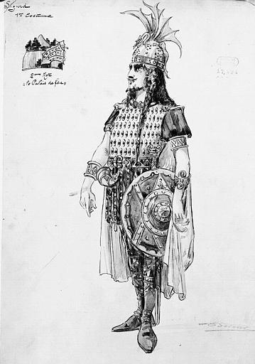 Maquette pour le premier costume de Sigurd dans 'Sigurd' de E. Reyer