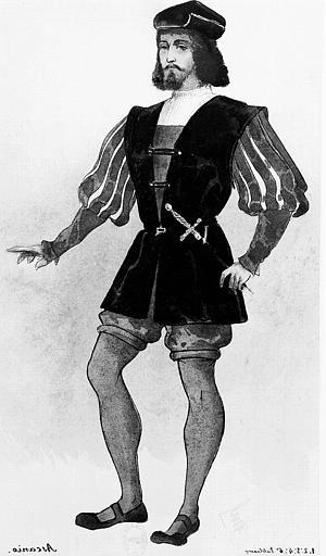 Maquette pour le costume d'Axanio dans 'Axanio' de Camille Saint-Saens