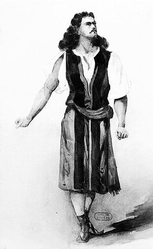 Maquette pour le costume de Samson dans 'Samson et Dalila' de Camille Saint-Saens