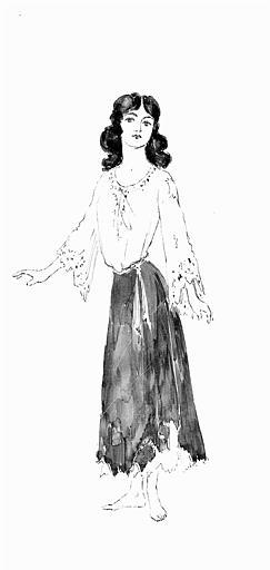 Maquette pour le costume de Mignon dans 'Mignon' de A. Thomas