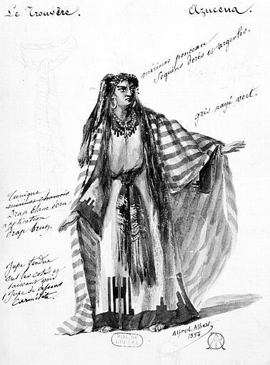 Maquette pour le costume d'Azucena dans 'Le Trouvère' de Giuseppe Verdi