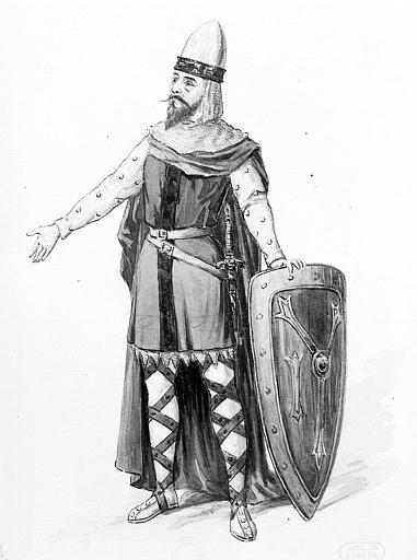 Maquette pour le premier costume de Frédéric de Tebramunet dans 'Lohengrin' de Richard Wagner