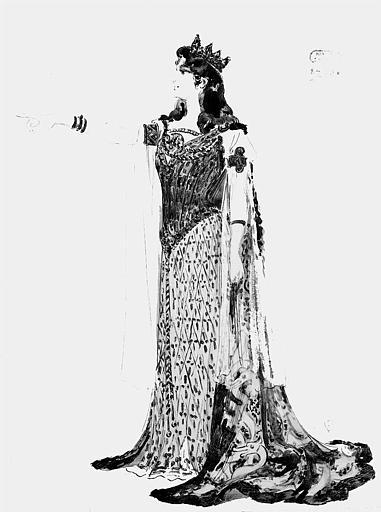 Maquette pour le costume d'Ortrude dans 'Lohengrin' de Richard Wagner
